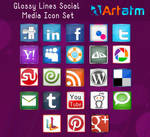 Free Glossy Lines Social Media Icon Set