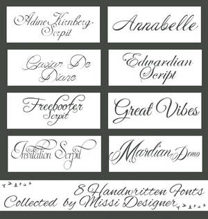 Handwritten fonts collected by MissiDesigner