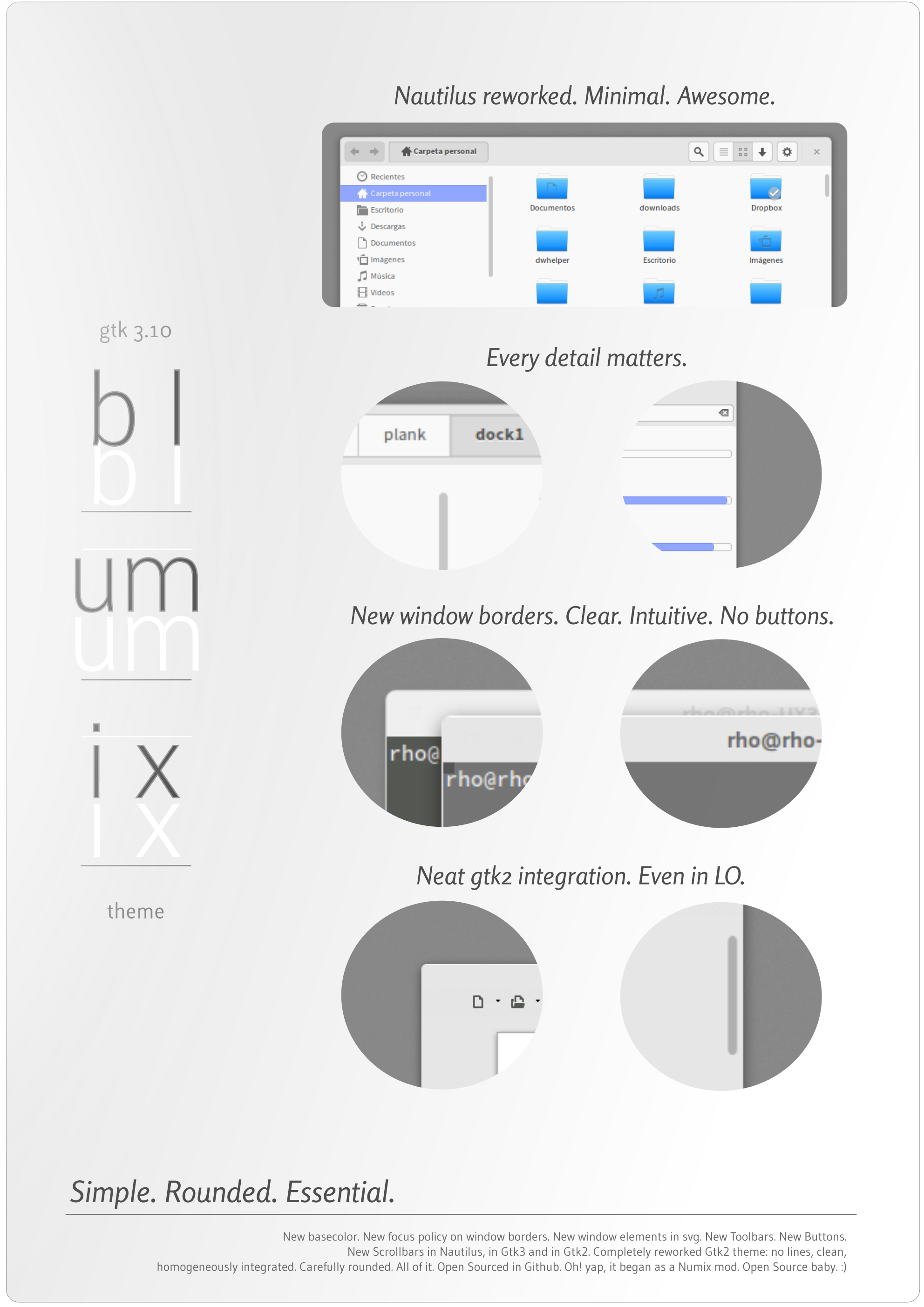 | Blumix | [minimal Gtk3.10 theme] (updated 1.2) by rhoconlinux