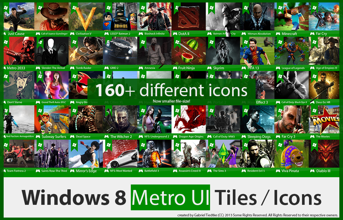 BIGGER UPDATE! 160+ Windows 8 Games Metro Icons! by GTiedtke
