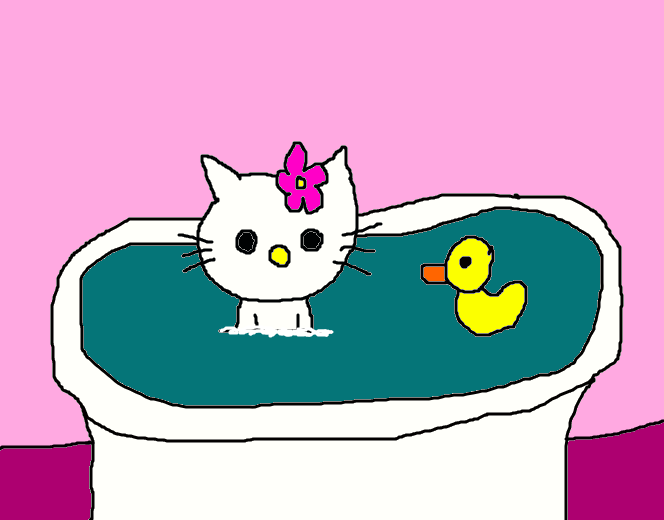 hello kitty taking a bath by mikejeddynsgamer89 on deviantart. Black Bedroom Furniture Sets. Home Design Ideas