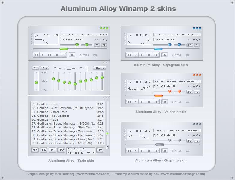 Aluminum Alloy winamp 2 skins