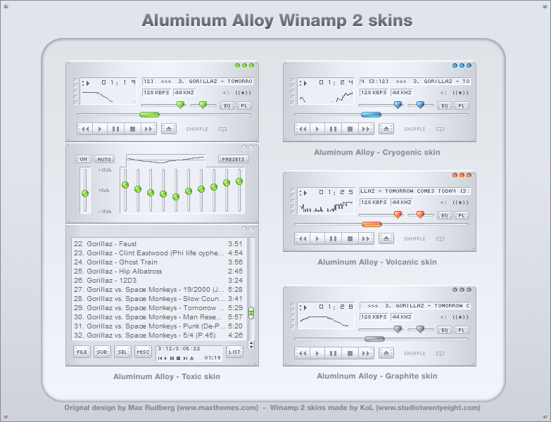 Aluminum Alloy winamp 2 skins by javierocasio