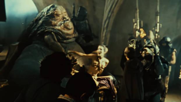 Jabba drops Leia's chain