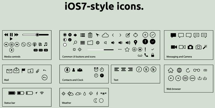 iOS7 style UI flat icons
