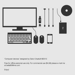 VECTOR ICONS: Computer hardware devices