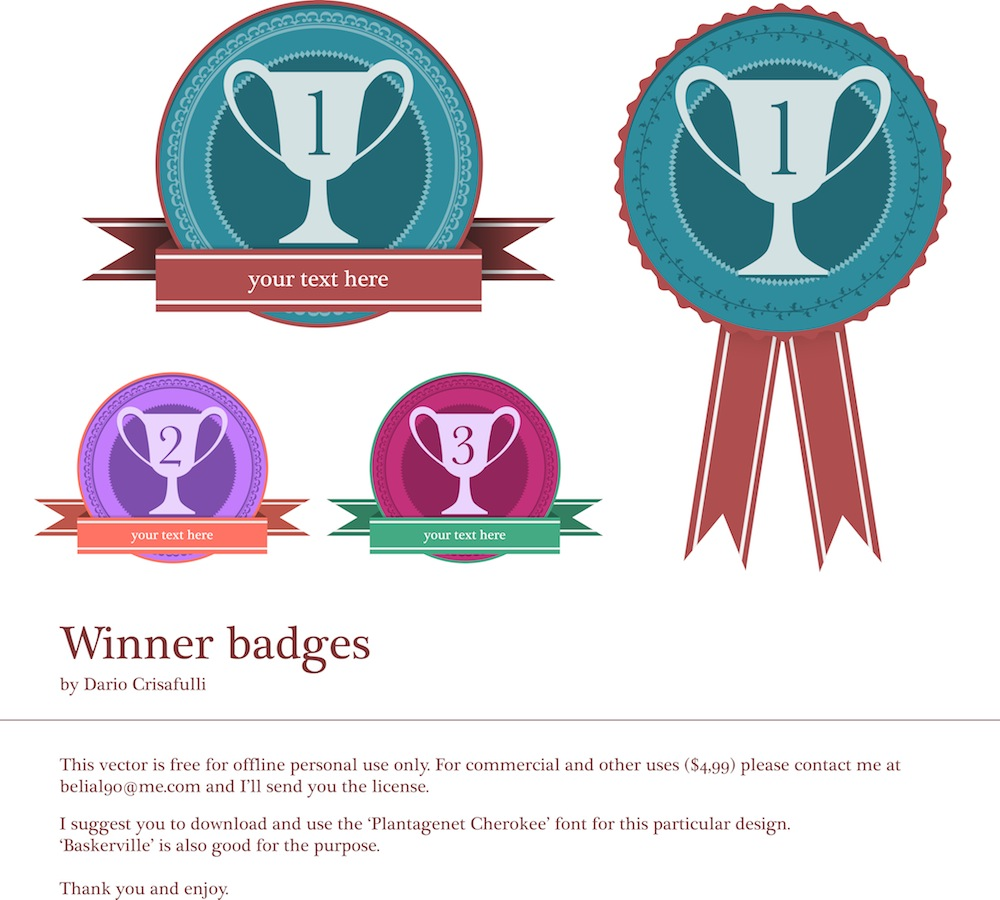 winner badges - vector art