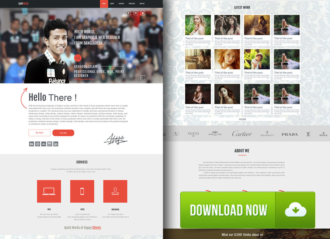 FREE samfolio personal one page web psd by Creative-samiul