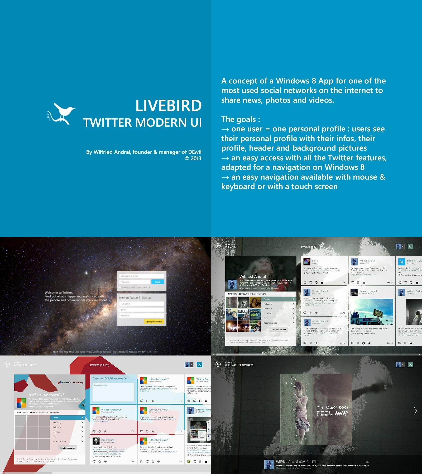 LiveBird - Twitter Modern UI Concept by wifun2012