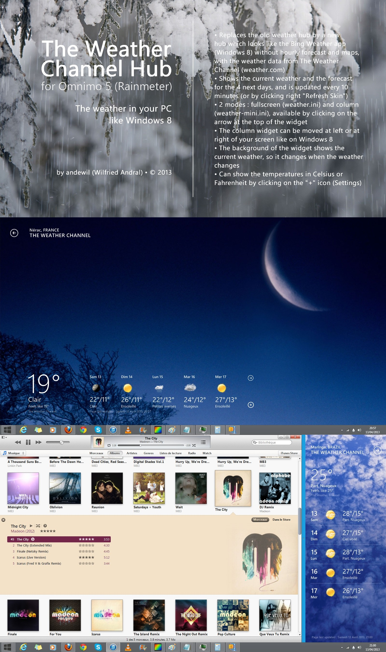 the weather channel hub for omnimo 5  rainmeter  by