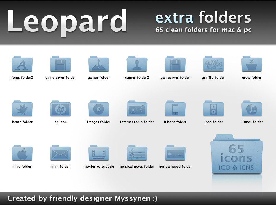 Leopard extra folder icons
