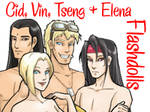FF7 Cid, Vin, Tseng and Elena