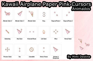 Kawaii Cute Airplane Paper Pink Cursors Cursores by SweetPinkGalaxy