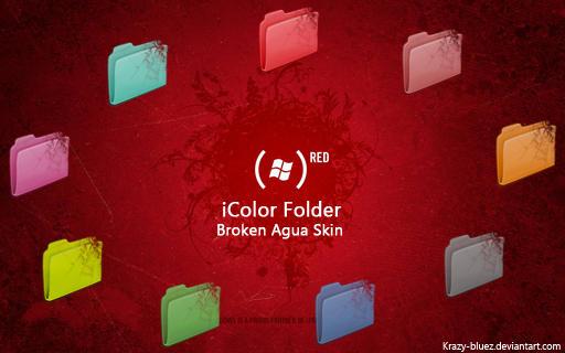 Broken Agua for iColor Folder by Krazy-Bluez