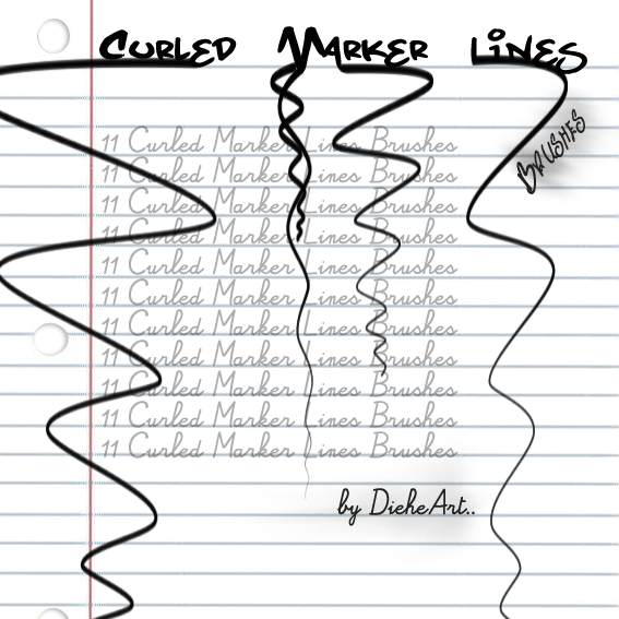 Curled Marker Lines Brushes