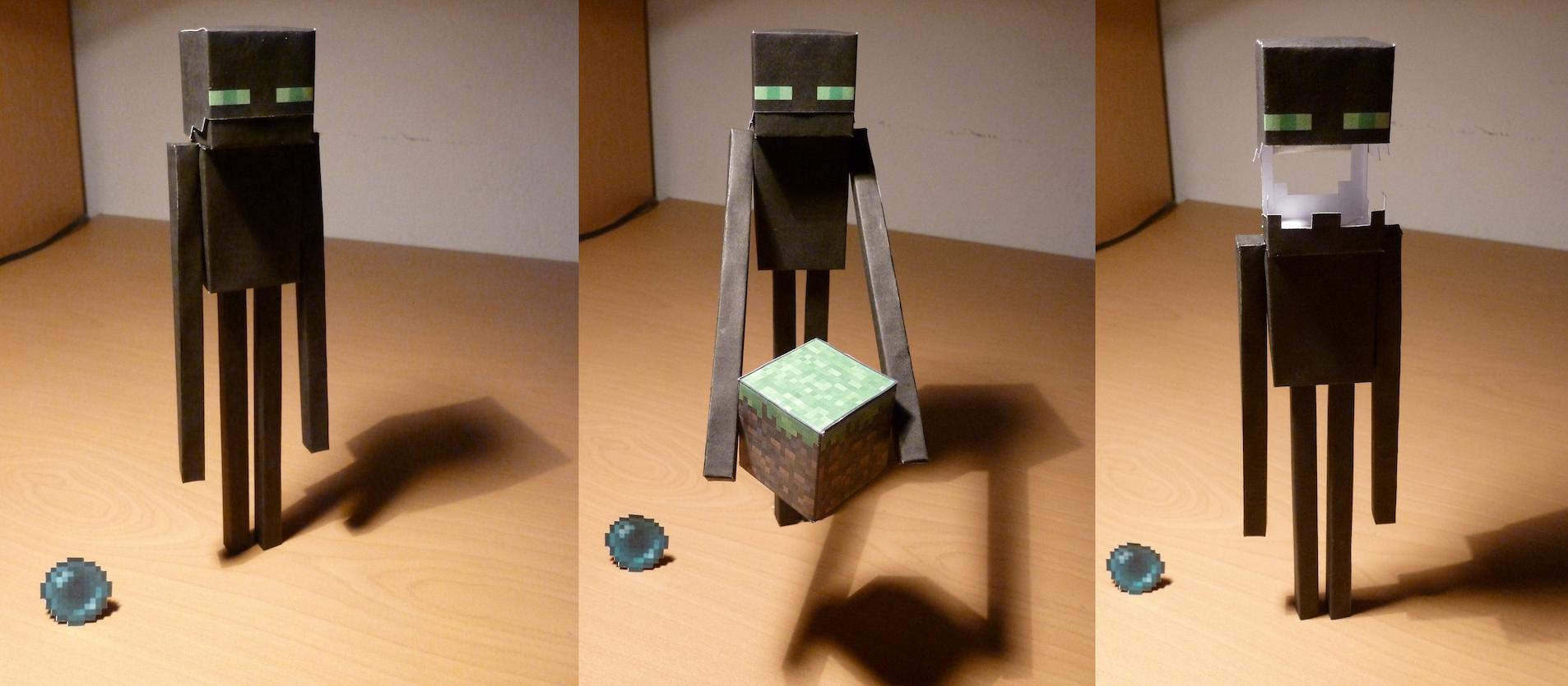 Как сделать из бумаги эндермена из бумаги схема