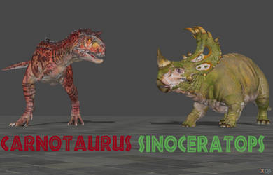 Sinoceratops and Carnotaurus (Evolution) by Spinosaurusking875