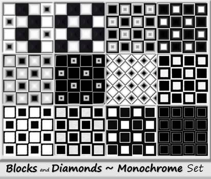 Blocks and Diamonds-Monochrome Set