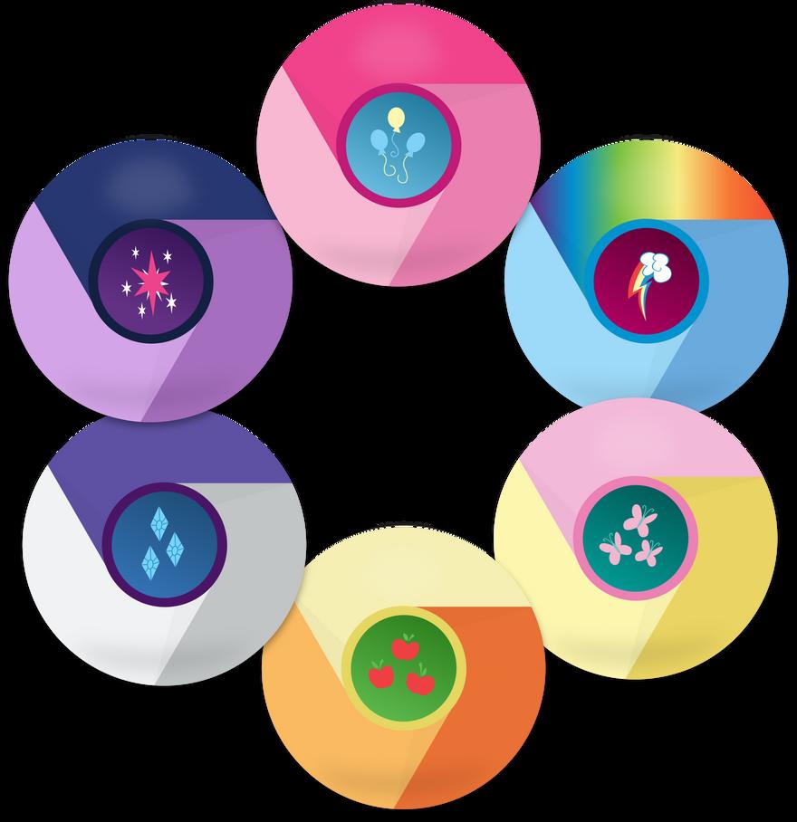 MLP Mane 6 Google Chrome Icons by EMedina13