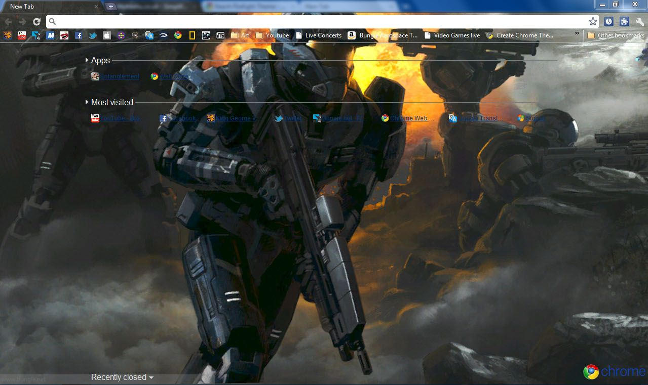Google chrome themes video games -  Halo Reach Firefight Chrome Theme By Bobofawesome