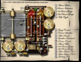Steampunk CPU GPU Thermometer Widget for Speedfan by yereverluvinuncleber