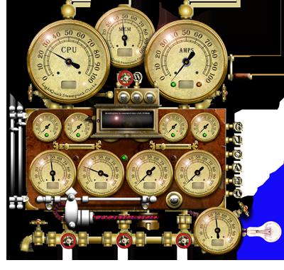Steampunk Resource Monitor Yahoo Widget by yereverluvinuncleber
