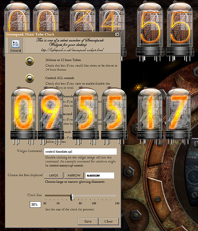Cyberpunk Nixie Tube Clock Yahoo Widget by
