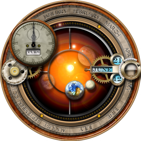 Steampunk Orrery Plasmoid Widget for Linux Kubuntu by yereverluvinuncleber