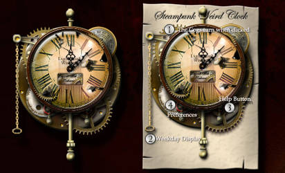 Steampunk Weird Clock Yahoo Widget and Icons