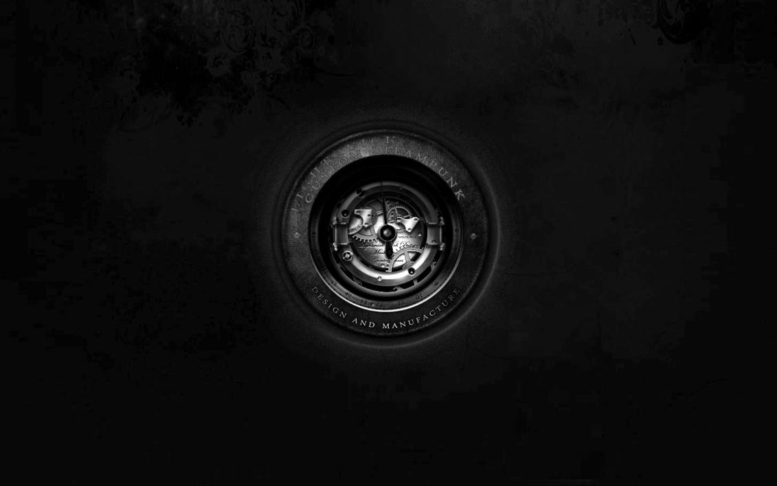 Steampunk Leather Desktop Wallpaper Black White by yereverluvinuncleber