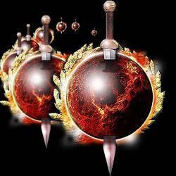 Steampunk Nibiru Planet X with Sword Icon