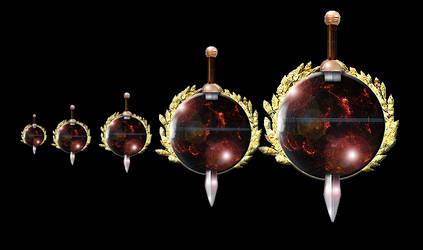 Steampunk  Geidi Prime Planet with Sword Icon