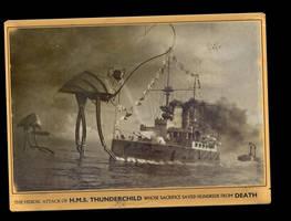 Vintage Postcard Thunderchild War of the Worlds by yereverluvinuncleber