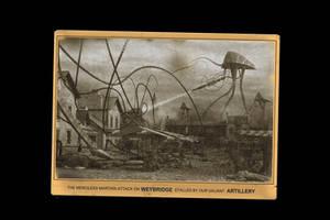 Vintage Postcard Weybridge Attack War of t' Worlds by yereverluvinuncleber