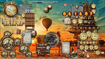 Balloon Sunset Windows 10 Steampunk Desktop by yereverluvinuncleber