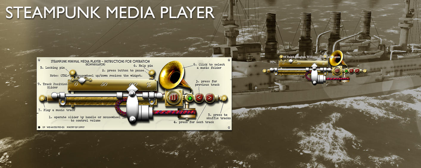 Steampunk Media Player Yahoo Konfabulator Widget by yereverluvinuncleber