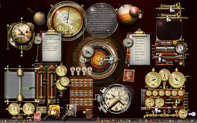 Steampunk XP desktop using widgets and rocketdock