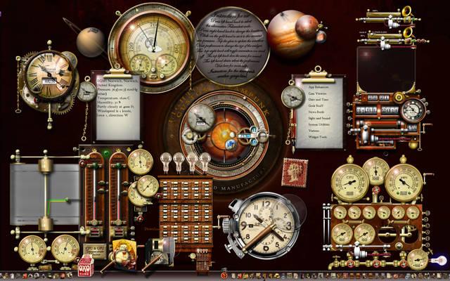 Steampunk XP desktop using widgets and rocketdock