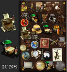 Steampunk icon set in .ICNS format