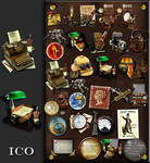 Steampunk icon set in .ICO format