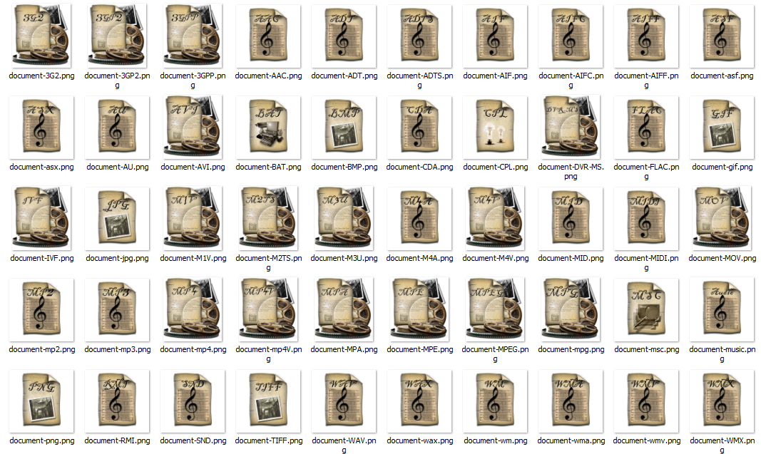 Steampunk audio and video icons PNG format