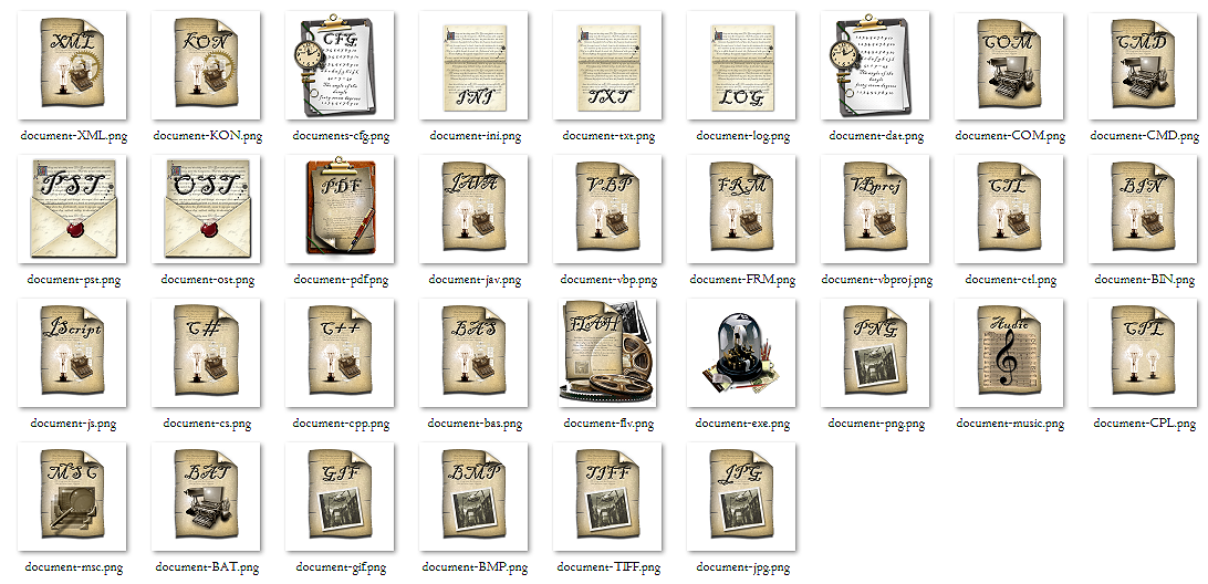 Steampunk EXE image audio/video icons PNG format