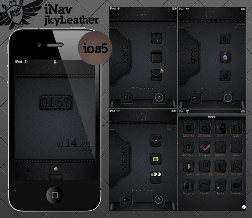 jkyLeather ios 5 iphone theme by jkypow