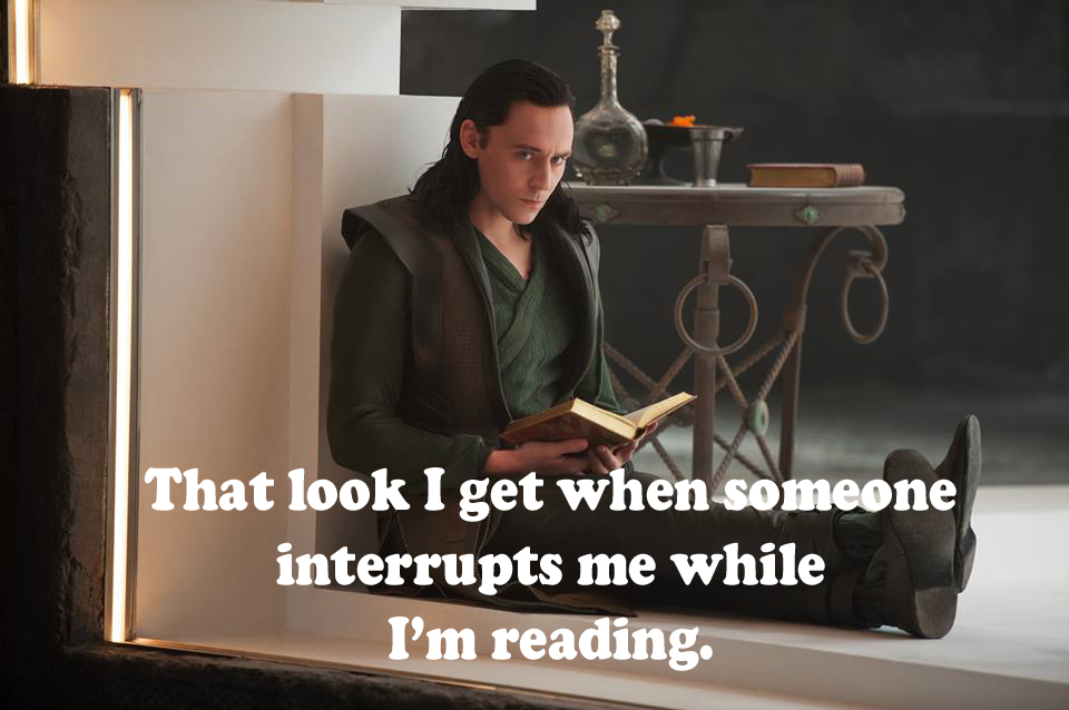 Image result for loki reading ignoring war mem