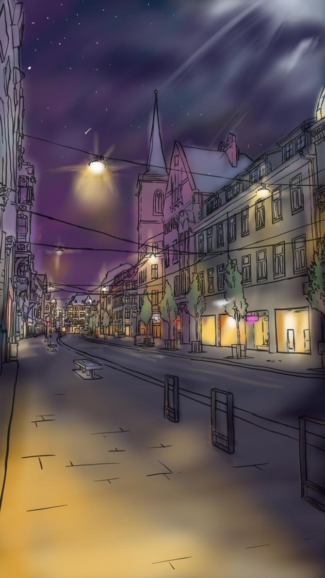 Street in Erfurt @ Night