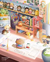 GIF - Cute Anime Otaku Desk