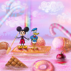 Mickey and Donald in Candy Land by Nisha2313