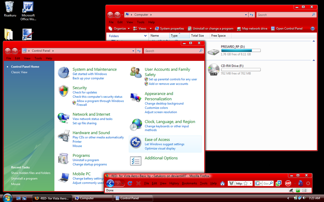 -RED- for Vista Aero+Basic 1.1 by Satukoro