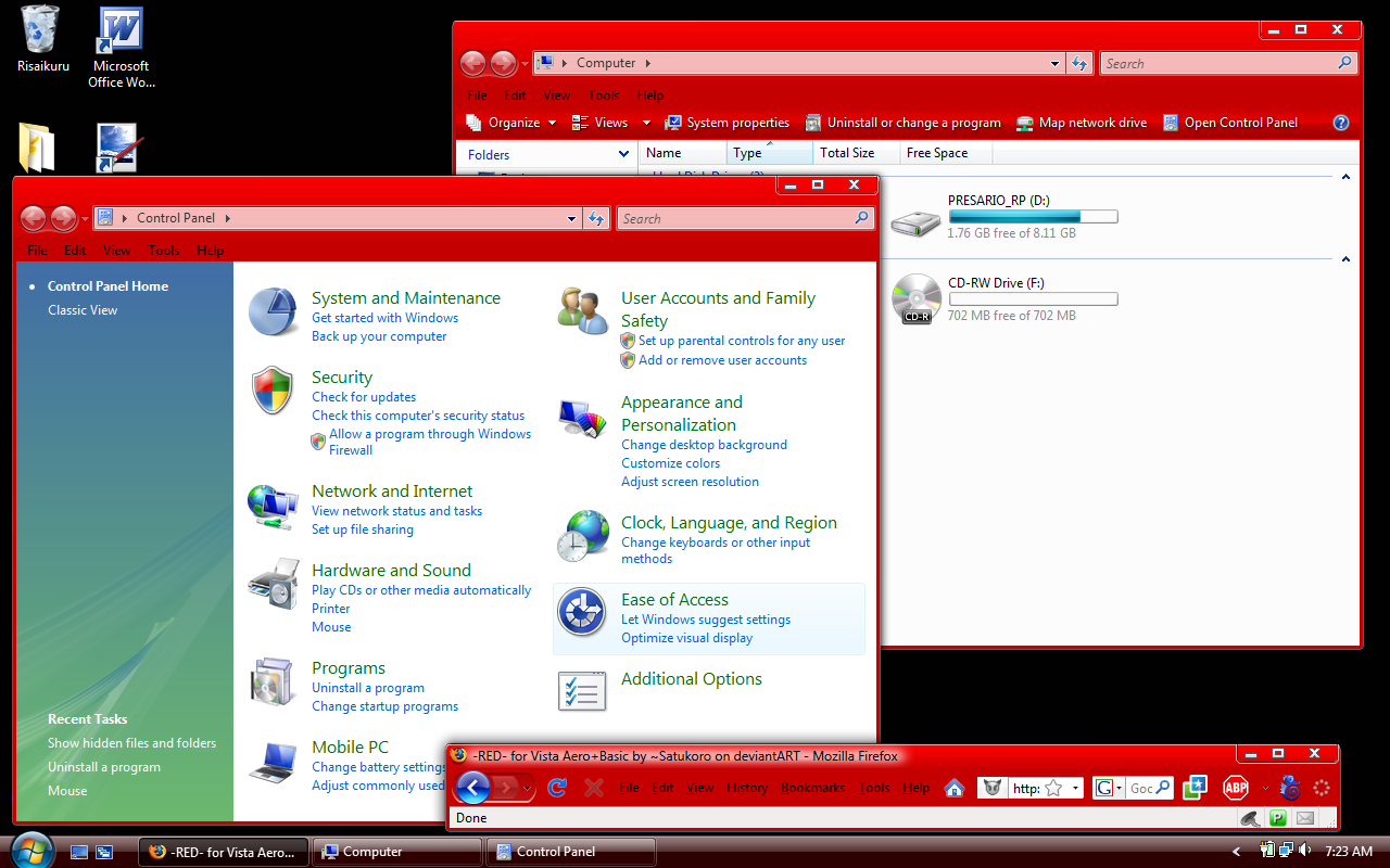 -RED- for Vista Aero+Basic 1.1 by Satukoro