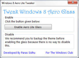 Windows 8 Aero Lite Tweaker by parassidhu